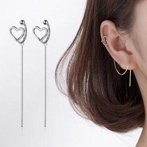 *NEW 925 Sterling Silver Heart Cuff Chain Earrings